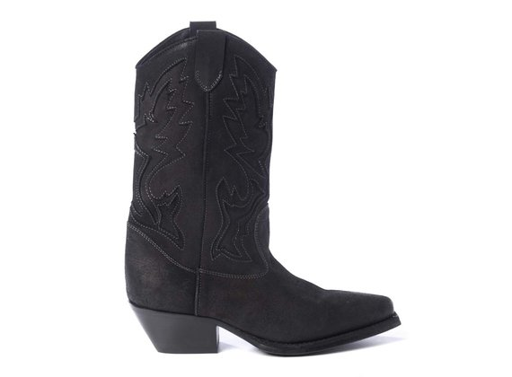 Black split leather cowboy boots with embroidery