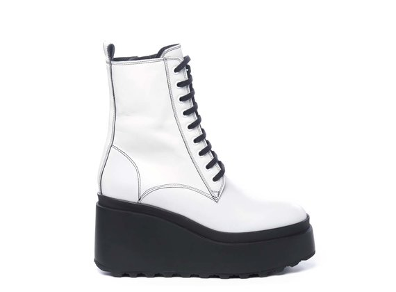 White calfskin combat boots with wedge