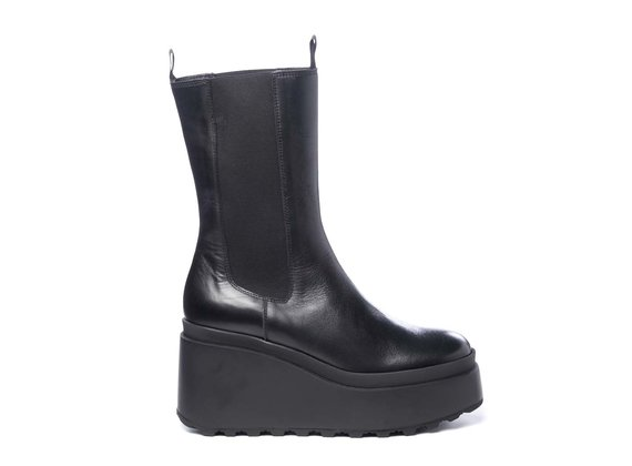 High black calfskin Beatle boots with wedge