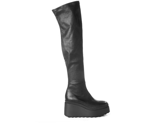 Over-the-knee boots in soft stretch leather with wedge
