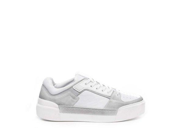 Sneaker pour homme en cuir de veau et croûte de cuir blanche