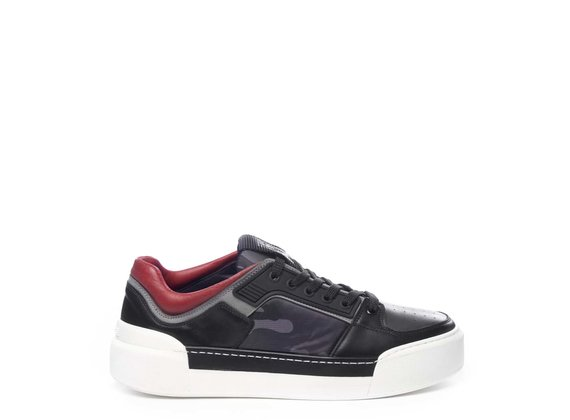 Sneaker pour homme en tissu camouflage gris et cuir de veau noir