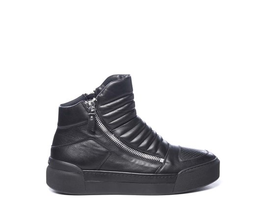 Men's black biker-style trainers in calfskin with metal side zips - Black