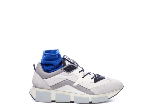 Men's running shoes in ice-white split leather/white fabric