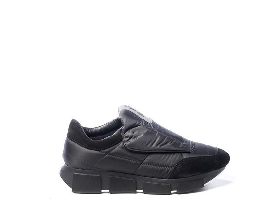 Men's running shoes in padded fabric/black split leather