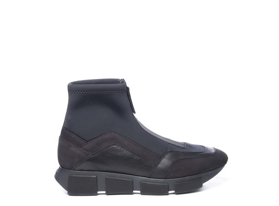 Men's high-top running trainers in black fabric/ split leather