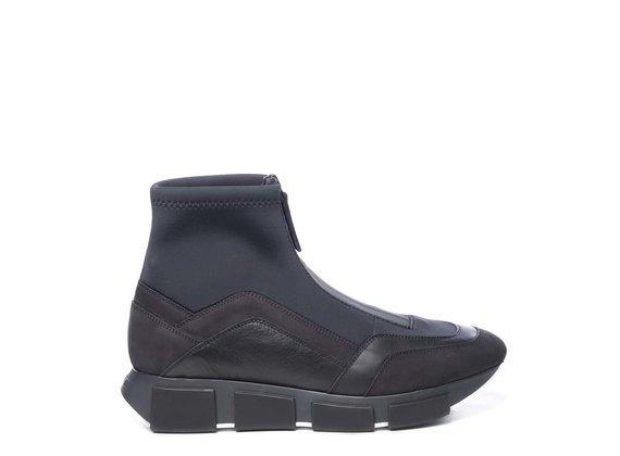 Running Polacco pour homme en croûte de cuir/tissu noir