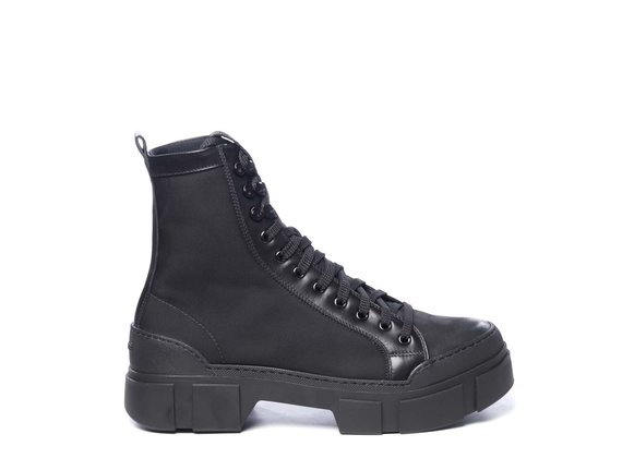 Men's black leather and fabric combat boots