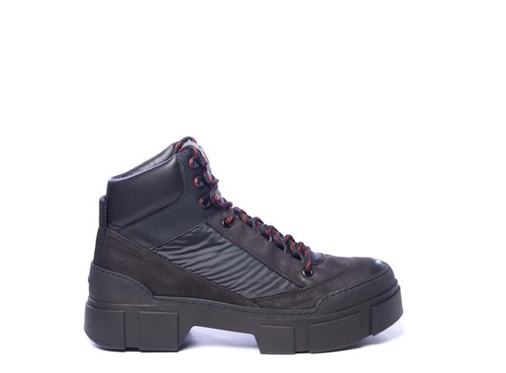 Men's black fabric and nubuck leather walking boots
