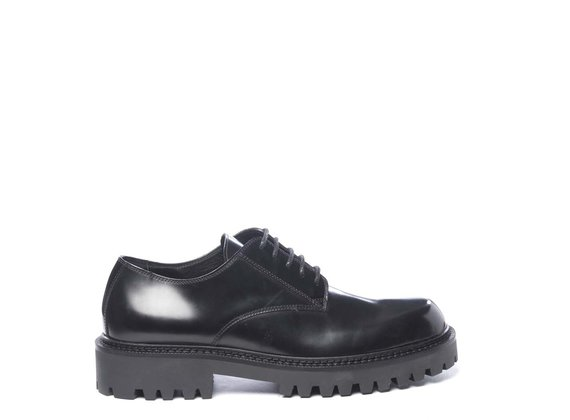 Men's black brushed leather derbies