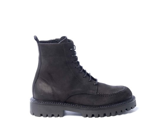 Men's black split leather combat boots with adler stitching