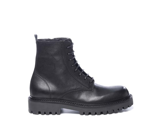 Men's black calfskin combat boots
