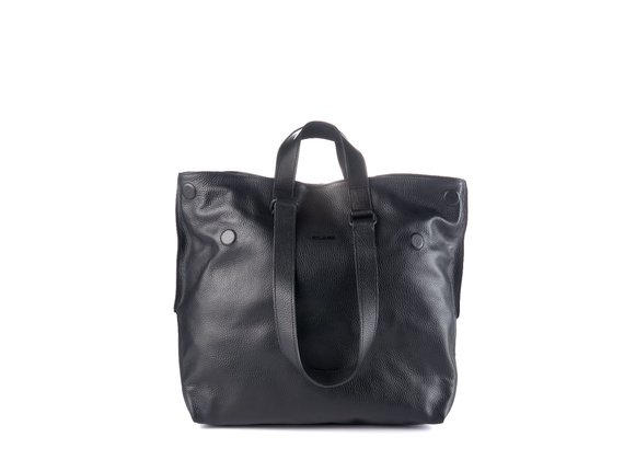 Agathe<br />Black leather shopper bag