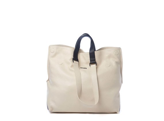 Agathe<br />Ivory/black leather shopper bag