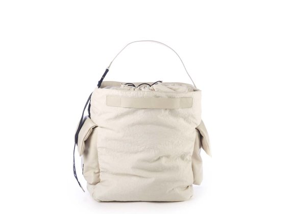 Meryl<br />Ivory-coloured leather and nylon bag - Beige
