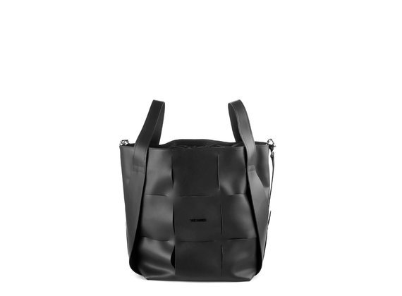 Nadege<br />Large black leather bucket bag