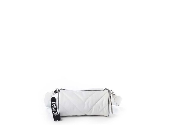 Deva Big<br />White leather barrel bag with black edging