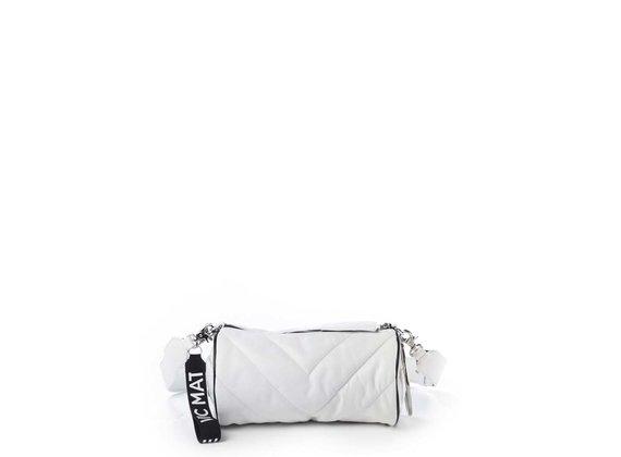 Deva Big<br />White leather barrel bag with black edging - White