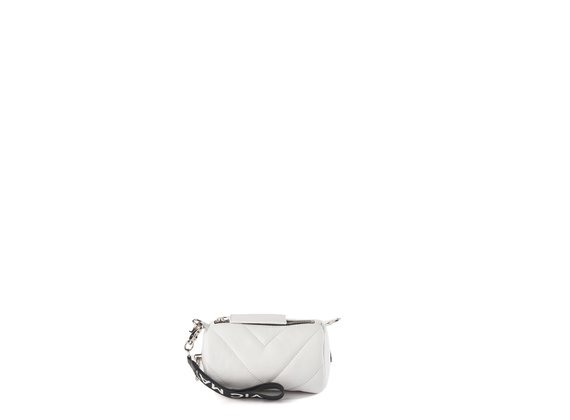 Deva Small<br />Mini white leather barrel bag