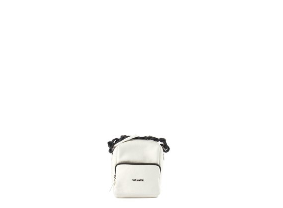 Angy<br />Mini white square-shaped backpack - White