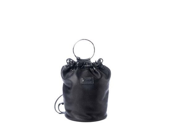 Tecla<br />Perforated black leather bucket bag