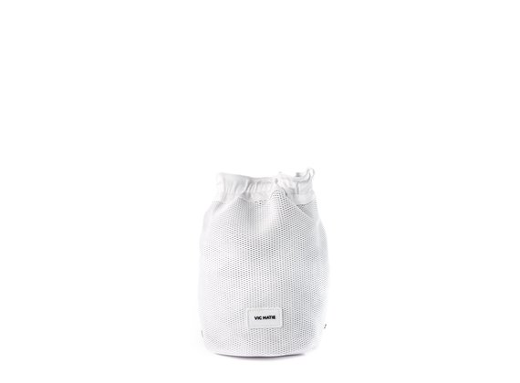 Tecla<br />Perforated white leather bucket bag