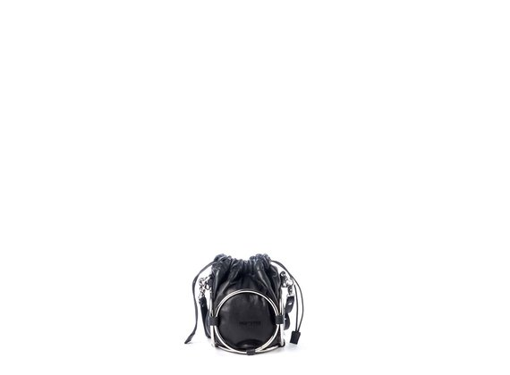 Italia<br /> Mini black leather bucket bag