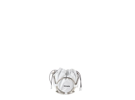 Italia<br /> Mini white leather bucket bag