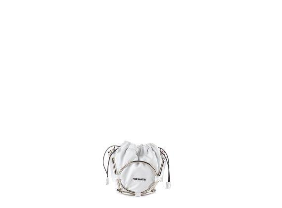 Italia<br /> Mini-Beuteltasche aus weißem Leder