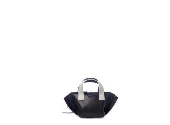 Justine<br /> Mini black/ice-white trapeze bag