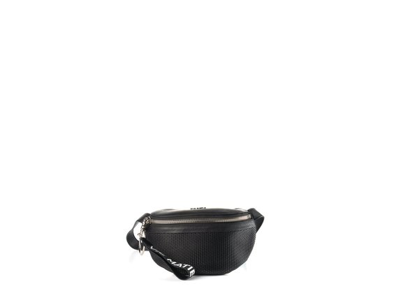 Ginger<br />Perforated black leather waist bag - Black