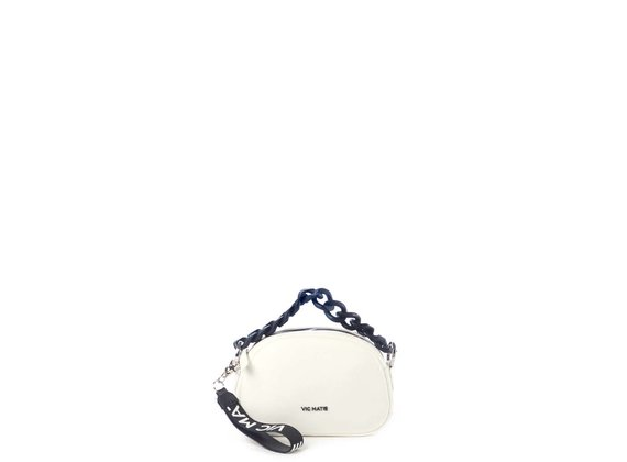 Babs Small<br />Mini white leather bag with black chain