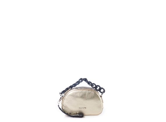 Babs Small<br />Mini bag pelle laminata  platino