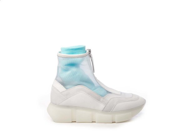 White high-top running shoes in calfskin/split leather and see-through ripstop