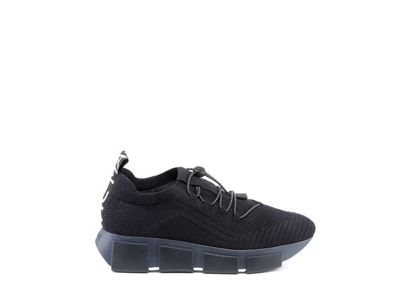 Knit black lace-up running shoes - Black