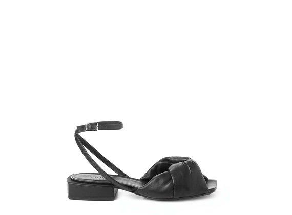 Flat black nappa sandals