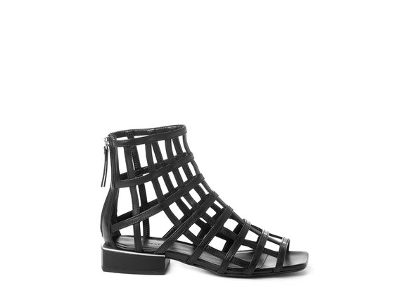 Flat high-top cage sandals in black calfskin