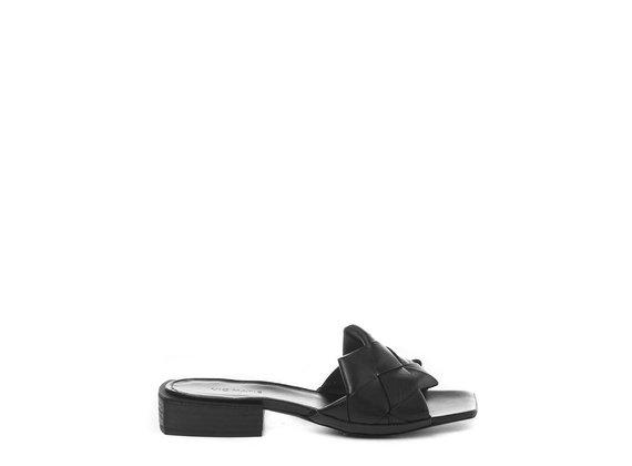 Flat black calfskin slip-ons
