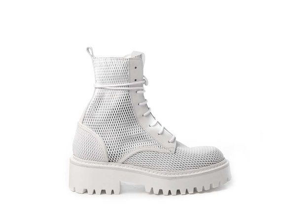White combat boots in perforated calfskin