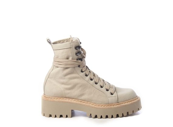Sand-yellow calfskin and canvas walking boots - Beige
