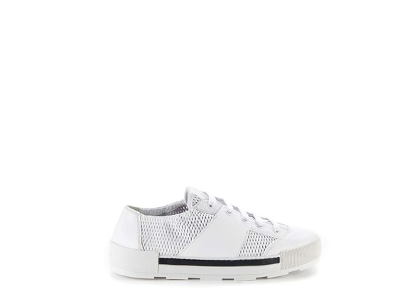 White lace-ups in perforated calfskin - White