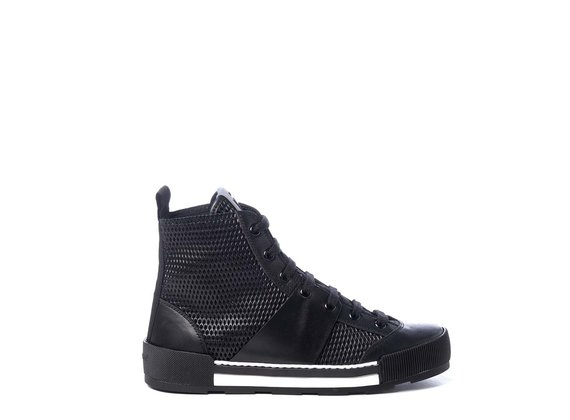 Black calfskin lace-up ankle boots