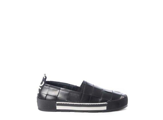 Black calfskin slip-ons