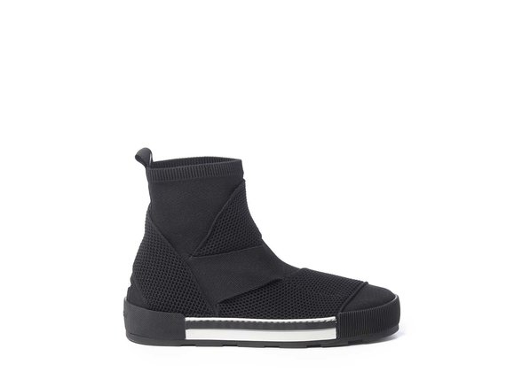 Banded black ankle boots