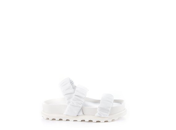 White footbed sandals with 3 bands