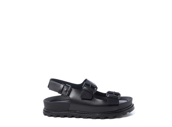 Black footbed sandals with straps