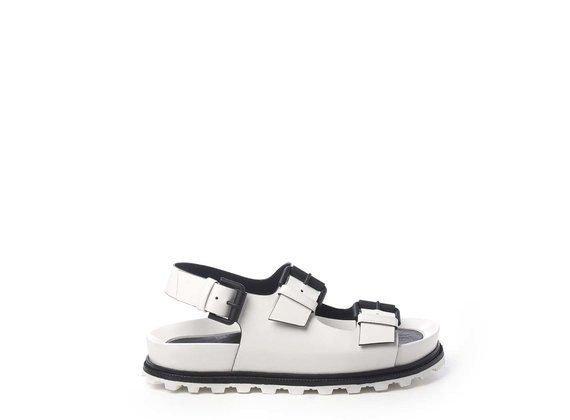 White footbed sandals with straps