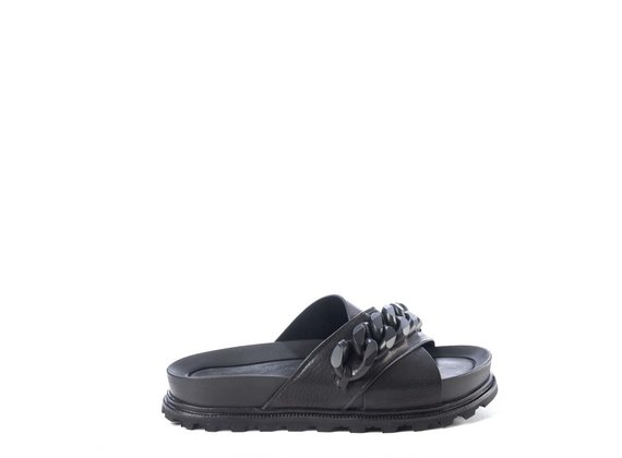 Black footbed sandals with black chain