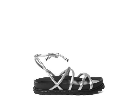 Footbed sandals with thin silver strips - Silver