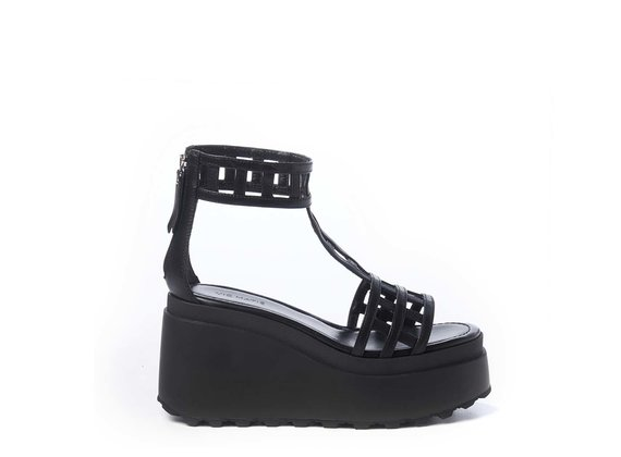 Black cage-effect T-bar sandals with wedge